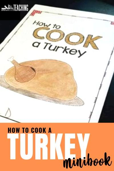 Thanksgiving writing minibook - How to cook a turkey - fun thanksgiving writing activity for third, fourth, and fifth grade students