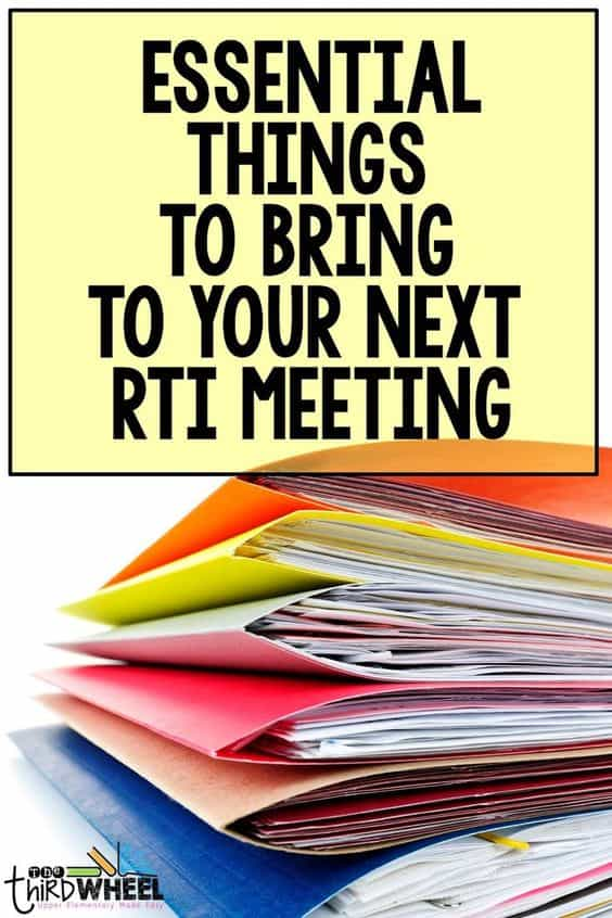 What to bring to an RTI/MTSS meeting