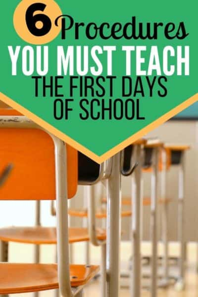 Must Teach Procedures for the First Days of School