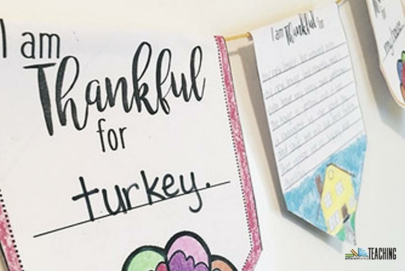 Thanksgiving writing craft perfect for bulletin boards or displays.