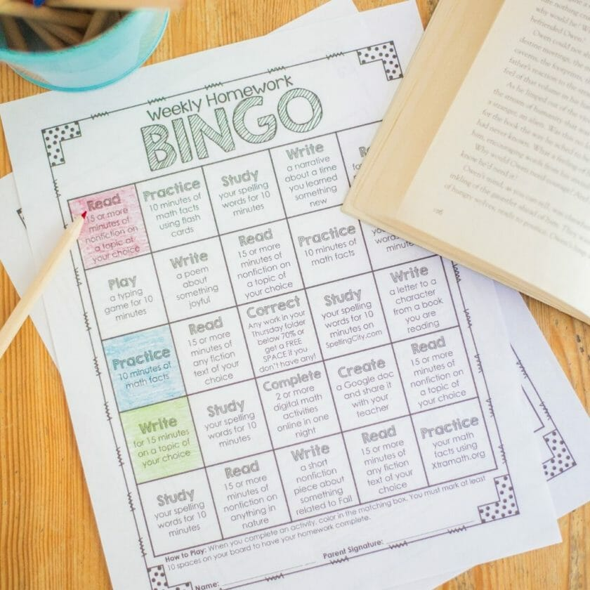 Differentiated Homework - Homework Bingo Board