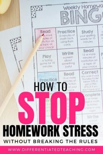 Homework Bingo Boards