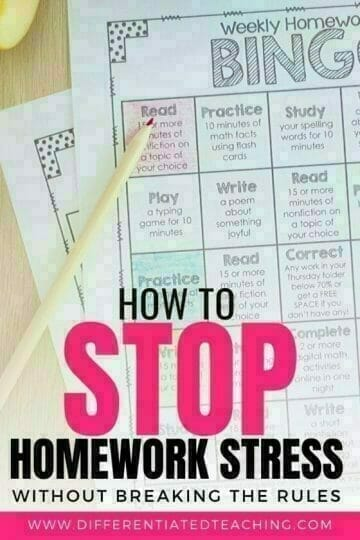 Homework Bingo Boards
