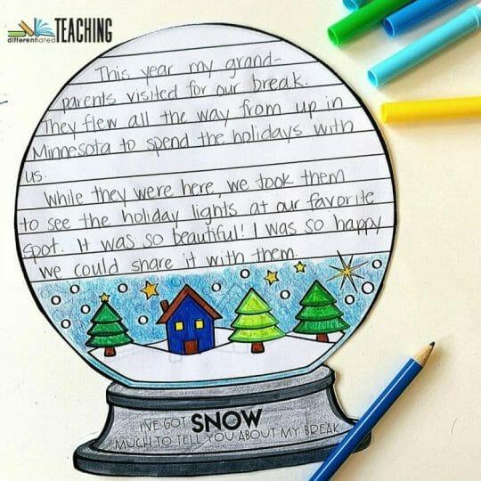January Snow Globe Writing Craft