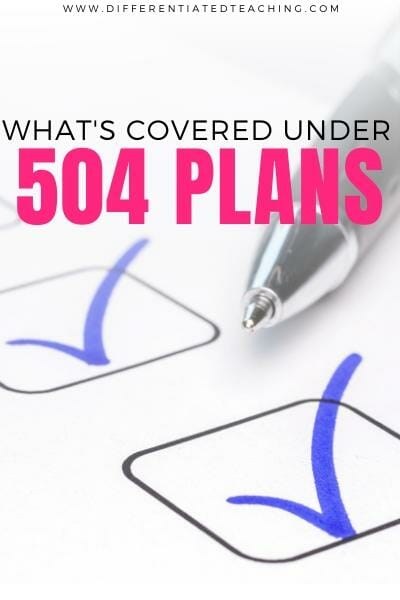 Checklist of what's covered under a 504 Plan