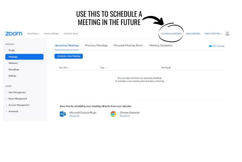 Schedule a meeting on Zoom