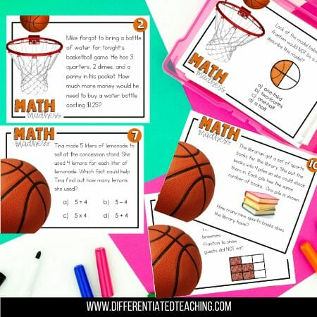 basketball math test prep task cards